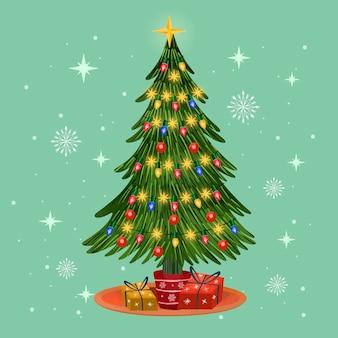 Aquarel kerstboom met verlichting