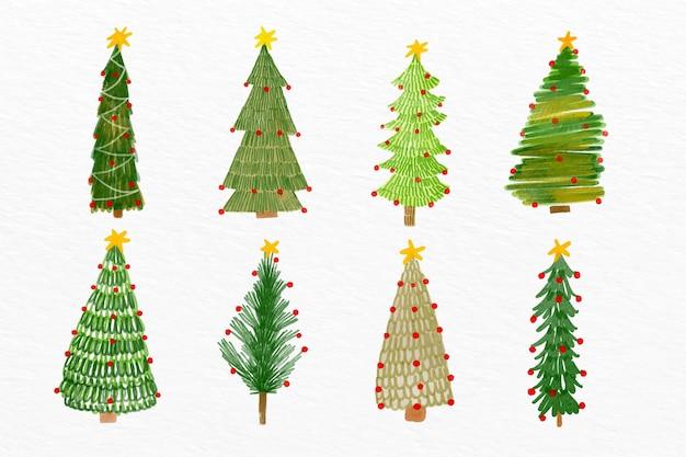 Aquarel kerstboom set
