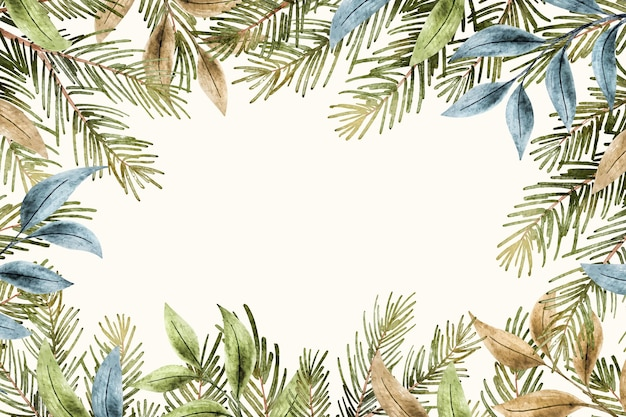 Aquarel kerstboom takken achtergrond