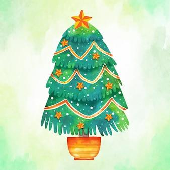 Aquarel kerstboom