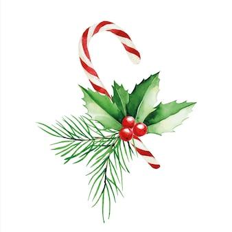 Aquarel kerstcompositie van lolly's van dennentakken en hulst