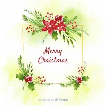 Aquarel kerstdecoratie met groet