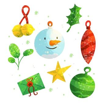 Aquarel kerstdecoratie set