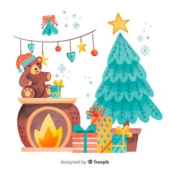 Aquarel kerstdecoratie