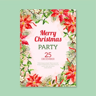 Aquarel kerstfeest poster sjabloon aquarel kerst tekens collectie