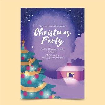 Aquarel kerstfeest poster sjabloon