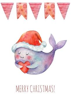 Aquarel kerstkaart met kerst schattige dieren walvis guirlande kerstversieringen