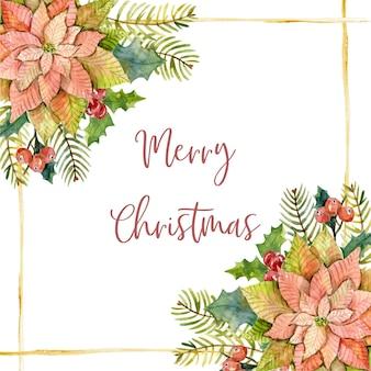 Aquarel kerstkaart met poinsettia dennentakken hulstbladeren katoen en gouden lijnen