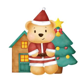 Aquarel kerstkaart met schattige teddybeer. Premium Vector