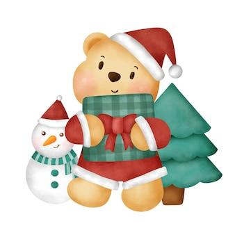 Aquarel kerstkaart met schattige teddybeer.