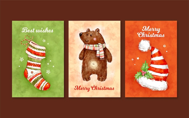 Aquarel kerstkaarten collectie