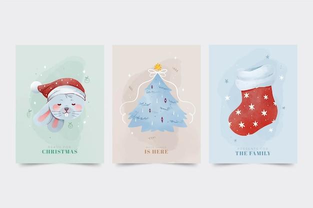 Aquarel kerstkaarten