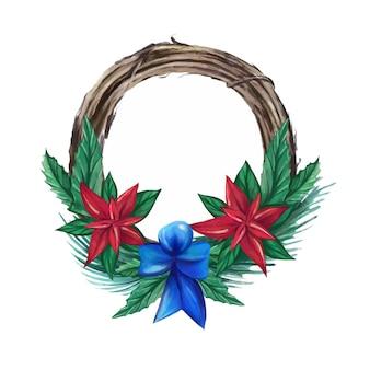 Aquarel kerstkrans met decoraties