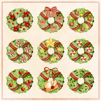 Aquarel kerstkrans met ornamenten