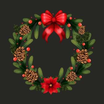 Aquarel kerstkrans met rode strik