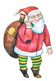 Aquarel kerstman. gelukkig nieuwjaar .