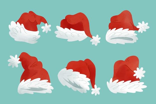 Aquarel kerstman hoed collectie