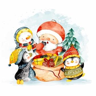 Aquarel kerstman met pinguin en kerstsneeuwman