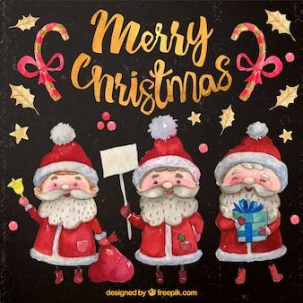 Aquarel kerstman tekens met geschenken set