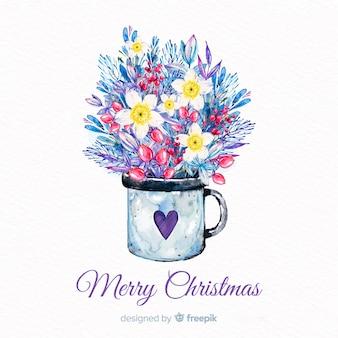 Aquarel kerstmis achtergrond met bloemen in een mok