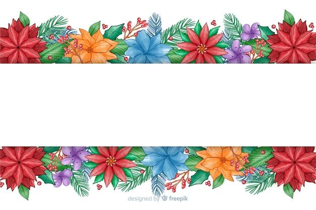 Aquarel kerstmis achtergrond met kleurrijke bloemen