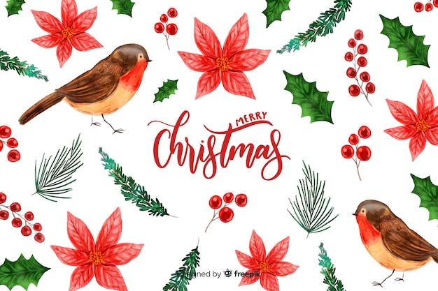 Aquarel kerstmis achtergrond met vogels