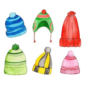 Aquarel kerstmis en winter element collectie