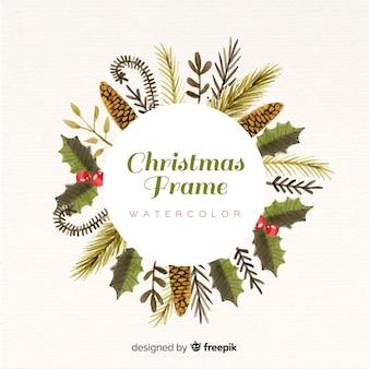 Aquarel kerstmis frame