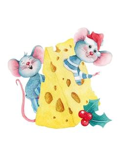 Aquarel kerstmis illustratie van schattige cartoon muizen in kaas