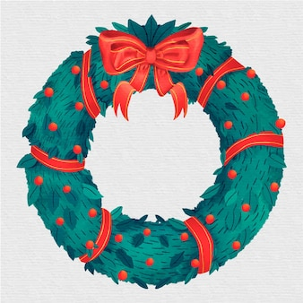 Aquarel kerstmis krans concept