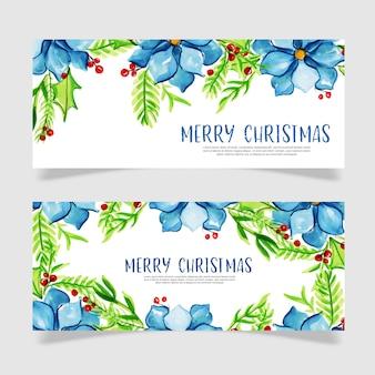 Aquarel kerstmis sjabloon voor spandoek