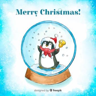 Aquarel kerstmis sneeuwbal globe achtergrond