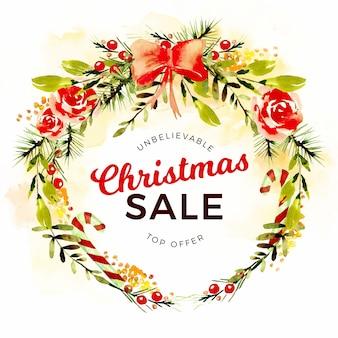 Aquarel kerstmis verkoop concept