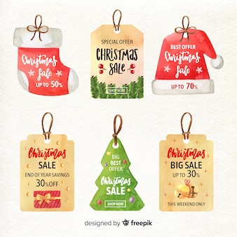Aquarel kerstmis verkoop label collectie