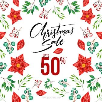 Aquarel kerstmis verkoopseizoen