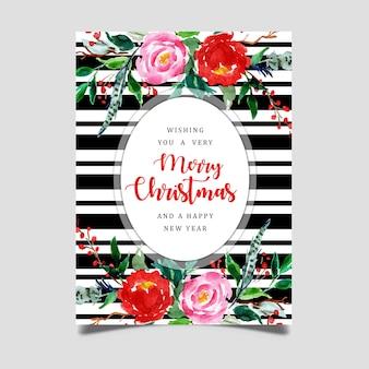 Aquarel kerstmis zwarte streep wenskaart