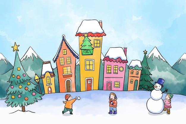 Aquarel kerststad met spelende kinderen