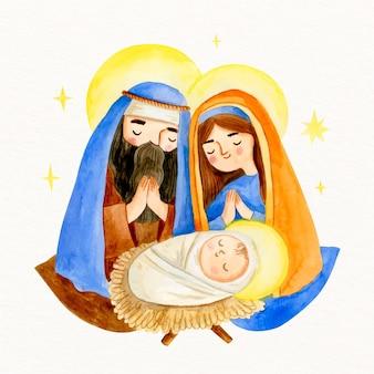 Aquarel kerststal met baby jezus