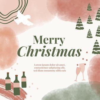 Aquarel kerstvakantieposts voor reclame, marketing en promotie op sociale media