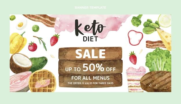 Aquarel keto dieet banner Gratis Vector