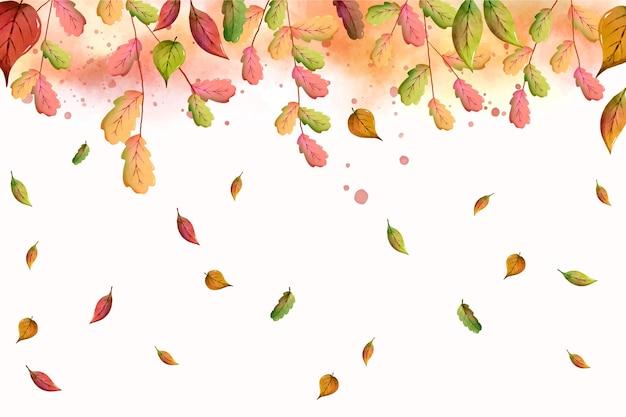 Aquarel kleurrijke bladeren vallen