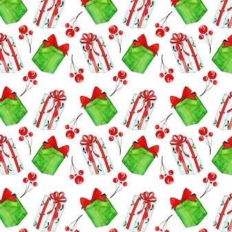 Aquarel kleurrijke kerst patroon achtergrond