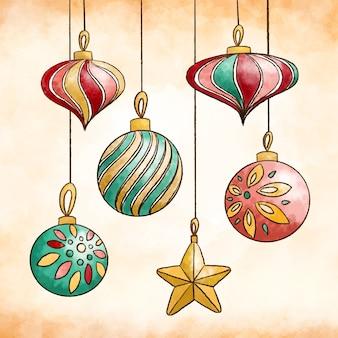 Aquarel kleurrijke kerstballen