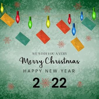 Aquarel kleurrijke kerstverlichting en gelukkig nieuwjaar met ornamenten