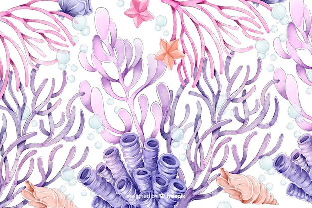 Aquarel kleurrijke koraal achtergrond