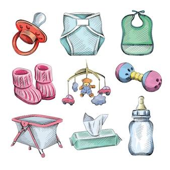 Aquarel kleurrijke schets set baby- en zuigelingenartikelen.