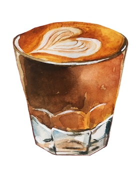 Aquarel koffie illustratie.