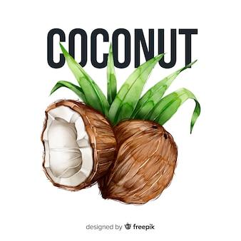 Aquarel kokosnoot Gratis Vector