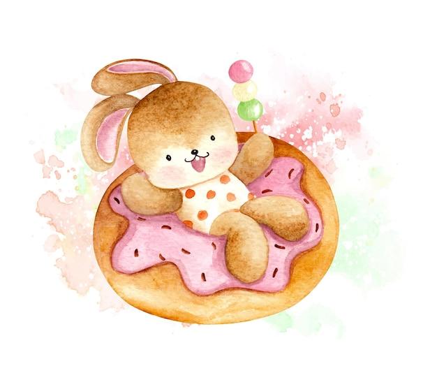 Aquarel konijn en dessert