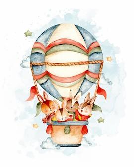 Aquarel konijn familie vliegen met hete luchtballon